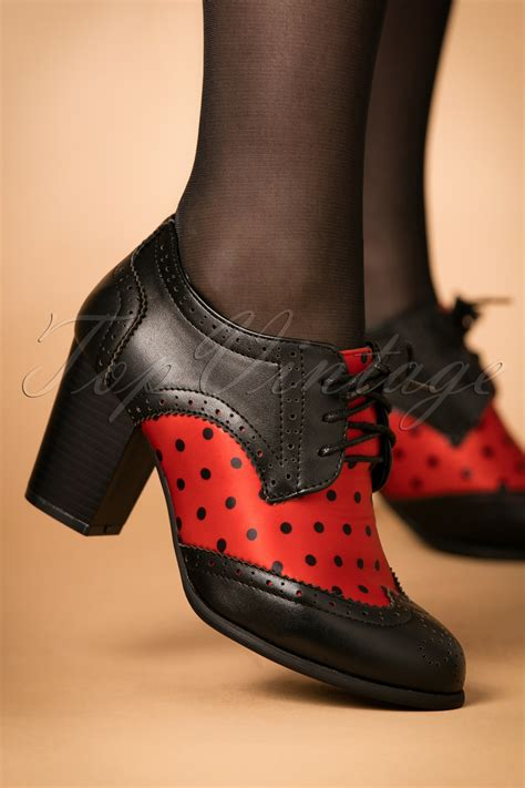 50s Polkadot Brogue Booties in Black and Red