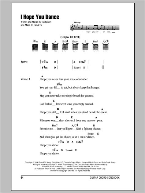 I Hope You Dance Sheet Music   Lee Ann Womack with Sons of