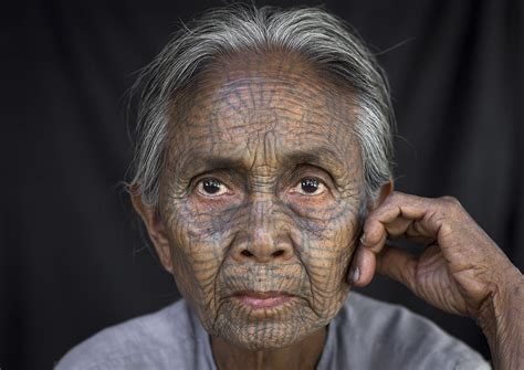 Tribal Chin Woman With Spiderweb Tattoo On The Face, Mrauk