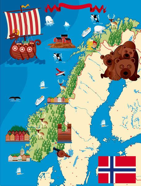 A cartoon illustration of a Norway map #14637383 Framed Prints