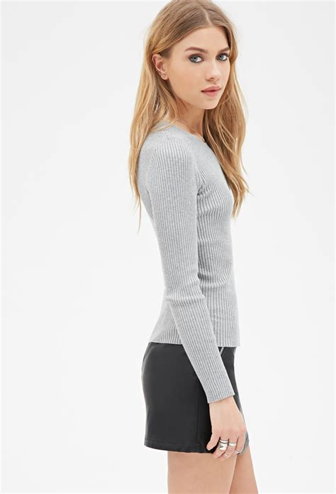 Forever 21 Synthetic Fitted Ribbed-knit Sweater in Light