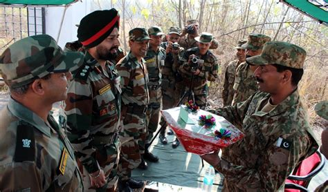 India and Pakistan Army officers during flag meeting at