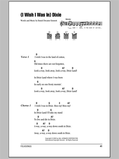 (I Wish I Was In) Dixie sheet music by Daniel Decatur
