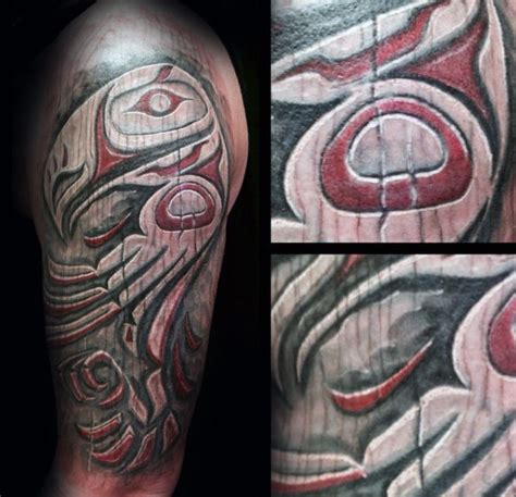 50 Wood Carving Tattoo Designs For Men - Masculine Ink Ideas