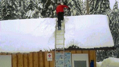 Shoveling Snow Off Roof Fail   Gifrific